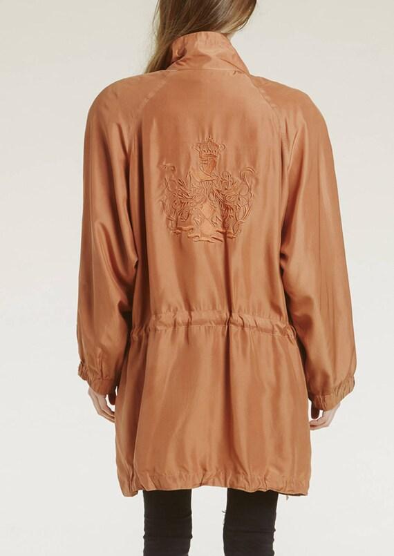 90s silk embroidered crest jacket