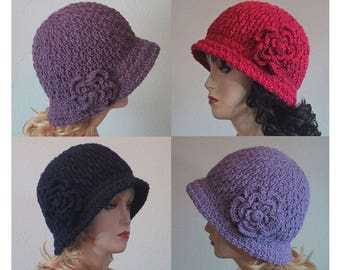 Ladies Cloche Hat w/Flower - Lots of Colors - Soft Acrylic Yarn - Handmade Crocheted - Size Medium - Made to Order - Great Chemo Hat