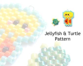 Jellyfish and Turtle Bead Patterns, Brick Stitch Beading, Miyuki Delica Seed Beads
