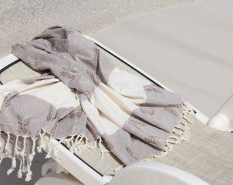 Peshtemal - BUTTERFLY Pattern - Traditional Turkish Towel - Turkish Fouta