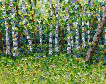 "Original Impressionist Oil Landscape Painting 11x14 ""Birch Grove"""