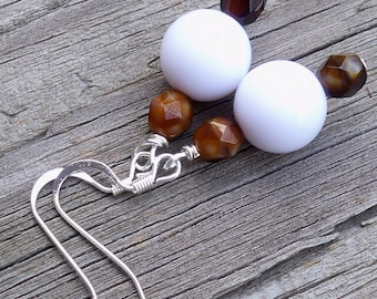 White and Brown Earrings Brown and White Earrings Boho Earrings White Dangle Earrings 10mm Round White Bead Earrings Dangle Earrings White