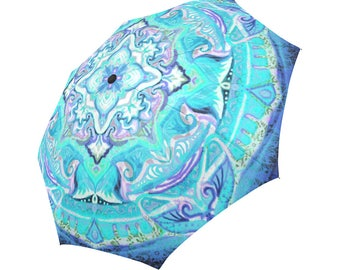 Mandala 3D effect- Bright colors-Large  umbrella- Rain and sun- customisable-Handpainted design-original gift-