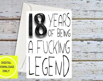 18th Birthday Card, 18th Birthday For Him, 18 Birthday Card, Funny 18th Birthday, 18th Birthday Son, 18th Birthday For Men, 18th Printable