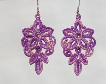 Chandelier earrings, Purple earrings, Embroidery lace, Handmade earrings, Viscose lace, Vintage earrings, Floral earings, Lace gift for her