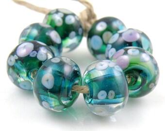 Pixie Ring SRA Lampwork Handmade Artisan Glass Donut/Round Beads Made to Order Set of 8 8x12mm