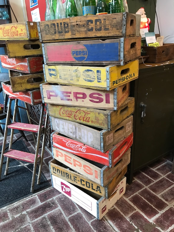 Soda Crates original wood Advertising Divided & Undivided 7up Pepsi Coca Cola Double Cola