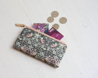 Bird fabric purse - Liberty print pouch - Pink and blue pouch - Gift under 20 - Can be personalised - Mini make up bag - Large coin purse