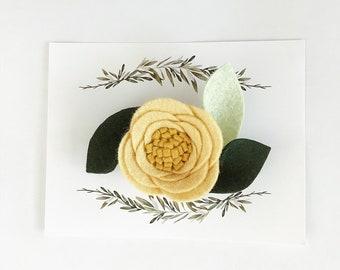 Yellow felt flower hair clip, nataliesclips