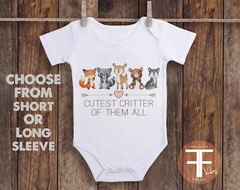 Cutest Critter Of All ONESIE ®, Woodland Animal Onesie For Boy, Baby Boy Onesie, Cute Baby Clothes, Fox Onesie, Newborn Outfit for Girl