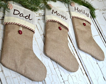Burlap stockings, Personalized Christmas stocking, farmhouse style stockings, rustic stocking Christmas, French country personalized