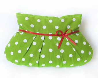Make up bag green dotted fabric, small cosmetic bags, pouch, purse, toilet, toiletry case, vanity bag chartreuse spotted red bow handmade