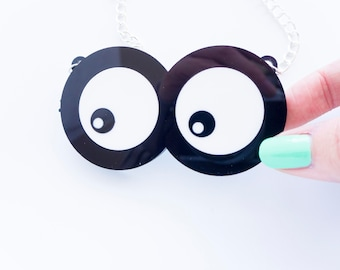 Googly Eye Necklace. googly eyes rolling statement eyes chain statement necklace moving necklace cartoon eyes black goggly eyes white