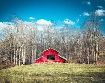 Hidden Barn Rural Photograph Print / Red Barn Rustic Country Farmhouse Decor