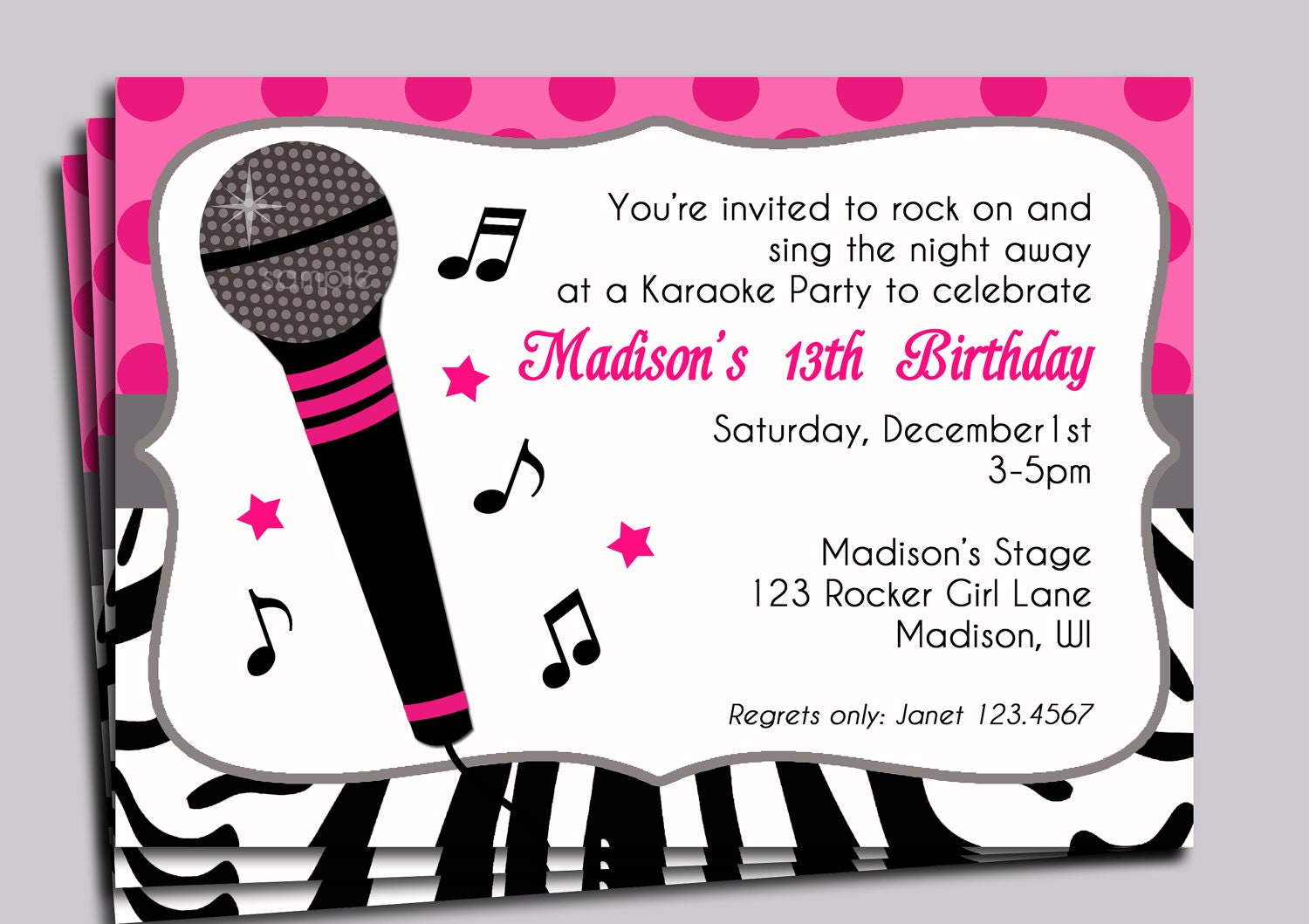 Hot pink zebra invitation printable or printed with free zoom stopboris Images