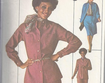 Simplicity 7703 Vintage Sewing Pattern from 1976.  Shirt, Pants, Skirt.  Jiffy Pattern, Bust 38
