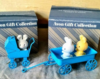 Vintage Avon Mini Spring Bunny Collection of Two - Bunny in Carriage and Bunnies in Wagon