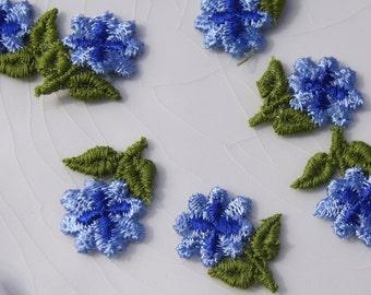 1960s Vintage Flower Applique, Blue Flower Embroidery Applique, Vintage Embroidered Applique Flower #1211