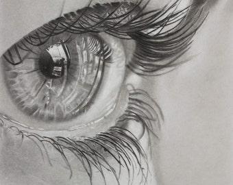 Eye study -  Glicée print of graphite pencil drawing