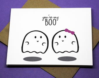 You're My BOO Halloween Ghost Romance Valentine's Day Greeting Card