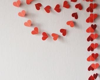 Valentines day decor Primitive Valentine decor Valentine garland Red Heart garland Wedding decoration Engagement party Bachelorette party