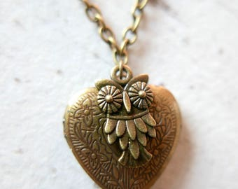 Heart owl Necklace locket gothic vintage brass