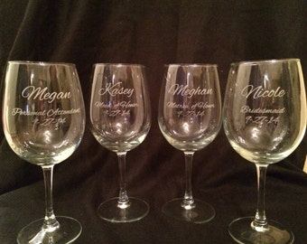 SET OF FIVE Personalized Wine Glasses