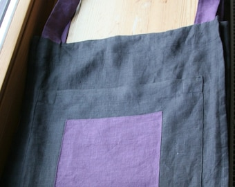 Linen Tote Bag with a Pocket