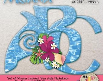 DIGITAL ALPHABET Clip Art  Moana  Vaiana  Oceania inspired Maui Digital Download Scrapbooking Sea
