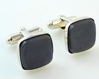 Vintage Hickok Cufflinks Gray Square Silver Tone