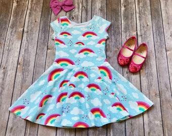 Rainbow Dress. Toddler Dress. Little Girl Dress. Twirl Dress. Twirly Dress. Baby Dress. Baby Rainbow Dress. Rainbow Party Dress. Comfy Girl.