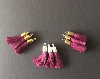 Purple Pompom, cotton thread, metal cap, 30x8mm, set of 3 Pcs