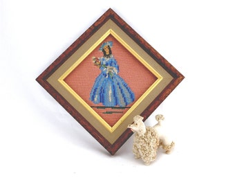 Small Vintage Needlepoint, Petitpoint, Hand Stitched Lady Figure, Bouquet of Flowers, Romantic Decor, Girls Room, Cottage Chic