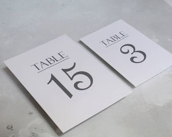 Wedding Table Numbers - Double Sided Table Number Cards - 4x6 - 5x7 Numbers - Day of Table Decor - Table Number Signs