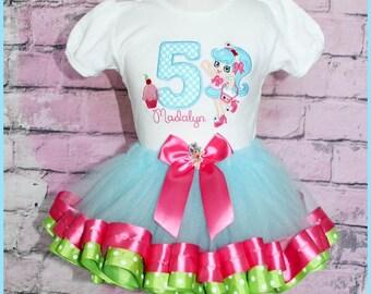New Super Cute Shopkins Jessicake Cupcake Birthday Outfit Ribbom Trim Tutu
