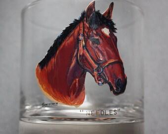 Sintzenich Drinking Glasses Depicting American Champion Thoroughbred Racehorses