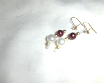Glass Pearls Shades of Red and Pink earrings