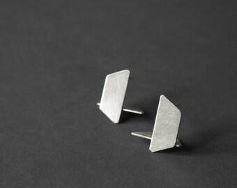 Geometric Silver Earrings, Geometric Stud Earrings, Architectural Earrings, Minimalist Stud Earrings, Statement Earrings, gift for her