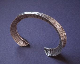 Fine Silver bracelet, Foldform cuff, unique hand made bracelet, anticlastic jewelry, womens silver cuff, sculptural jewelry, copper bracelet