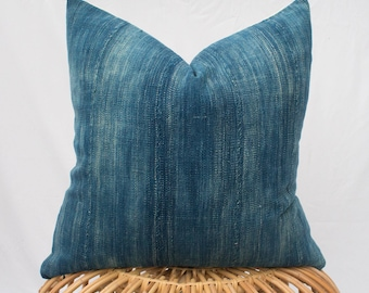 Set of Two Indigo Mudcloth Pillow Covers / Made to Order / 22x22