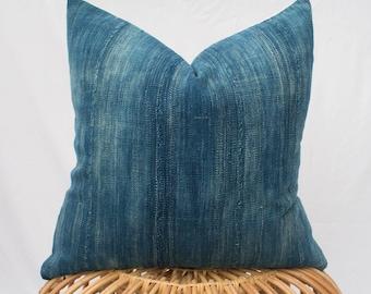 Set of Three Indigo Mudcloth Pillow Covers / Made To Order / 24x24