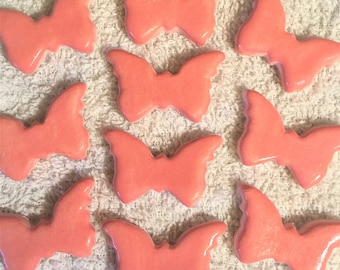 10 Handcrafted Pink Butterfly Tiles That Can Be Used In Mosaic And Other Mixed Media Projects