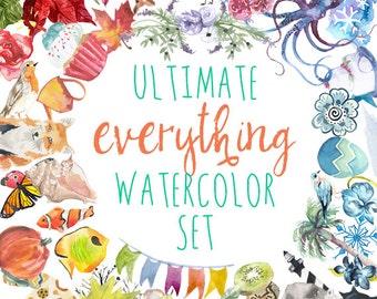Ultimate Combo Watercolor Clip Art Set
