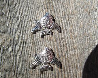 Sea Life Fish Charms 20mmx20mm Bright Silver Tone  (2)