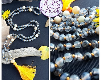 Japa Mala 108 beads, Hand Knotted, 6mm Black Dragon Vein Agate and 8 mm Amazonite Beads