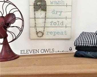 "LAUNDRY SIGN, 12"" x 12"", Laundry Room Decor, Rustic Laundry Room, Wood Laundry Sign, Fixer Upper, Laundry string art, wash dry fold"