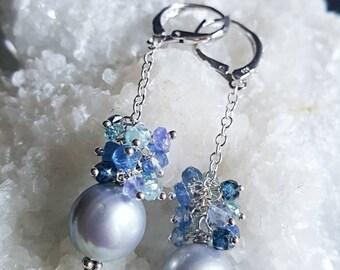 Dove Grey Freshwater Pearl Kyanite, Blue Zircon, Tanzanite Gemstone Cluster Dangle Earrings in Sterling Silver Bridal Earrings