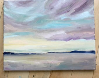 Original Oil Painting, Original Landscape Painting, Ocean Landscape, Beach Art, Modern Art, wrapped canvas, Original Art