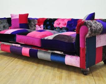 Chesterfield patchwork sofa - purple sky