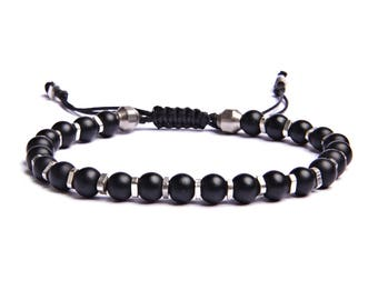Men's black and silver bracelet - Men's black beaded bracelet - Men's Jewelry - Gifts for Dad - Men's Accessories - Black jewelry for him